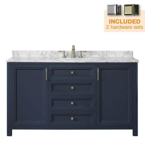 Home Decorators Collection Sandon 60 In W X 22 In D Bath Vanity In Midnight Blue With Marble Vanity Top In Carrara White With White Basin Sandon 60mb The Home Depot