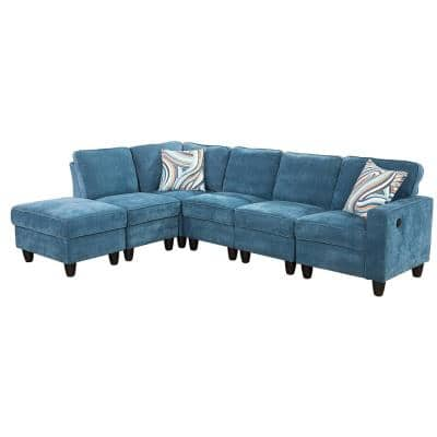 6-Piece Blue Microfiber 4-Seat L Shaped Right Facing Sectionals with USB-A