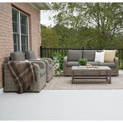 Forsyth 6-Piece Wicker Seating Set with Gray Cushions