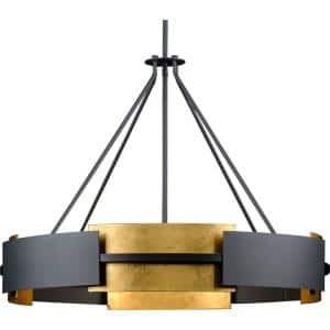Lowery Collection 6-Light Black/Distressed Gold Luxe Pendant Hanging Light