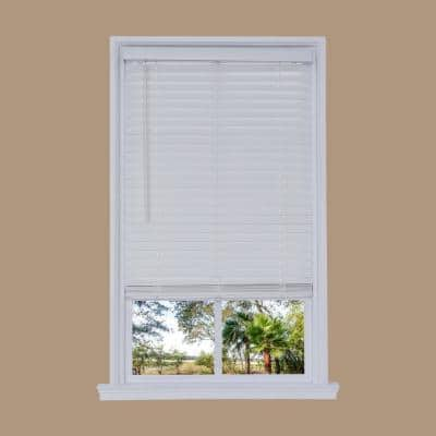 White Cordless 2 in. Embossed Faux Wood Blind 59 in. W x 72 in. L