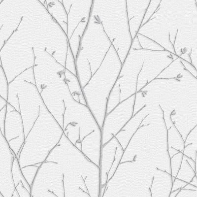 Water Silk Sprig Light Silver Wallpaper Sample