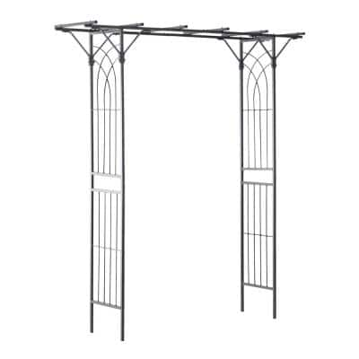 82 in. Decorate Metal Garden Trellis Arch for Backyard Celebrations with Beautiful Square Design and Rose Arch Black