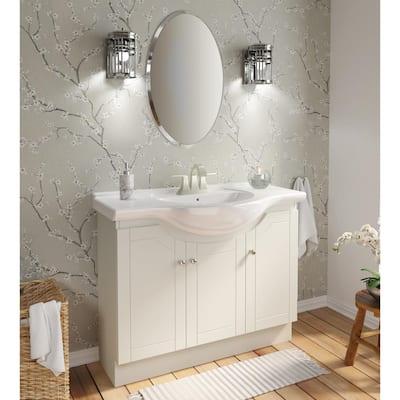 Highmont 41 in. W x 17-5/8 in. D Vanity in Linen White with Porcelain Vanity Top in Solid White with White Basin