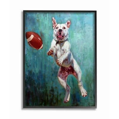 """16 in. x 20 in. """"Bull Dog Playing Football Airborn Funny Painting"""" by Artist Lucia Heffernan Framed Wall Art"""