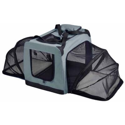 Hounda Accordion Metal Framed Collapsible Expandable Pet Dog Crate - Large in Grey