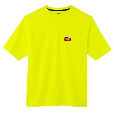 Men's Small High Visibility Heavy-Duty Cotton/Polyester Short-Sleeve Pocket T-Shirt