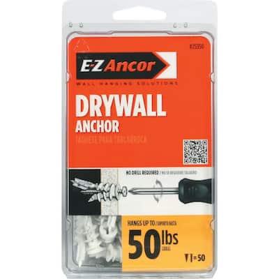 Twist-N-Lock 50 lbs. Philips Flat-Head Medium Duty Self-Drilling Drywall Anchors (50-Pack)