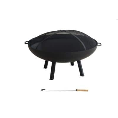 Windgate 40 in. Dia Round Steel Wood Burning Fire Pit with Spark Guard