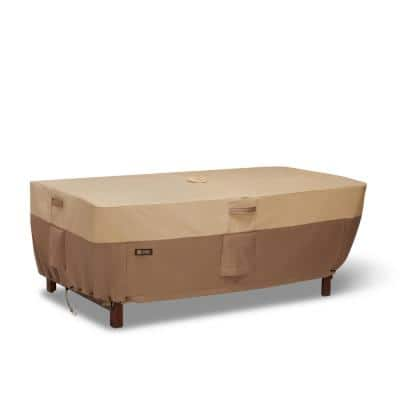 Veranda's Best 84 in. x 44 in. x 24 in. Earth Rectangle/Oval Patio Table Cover with Umbrella Hole