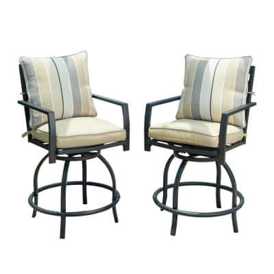 Swivel Metal Outdoor Bar Stools with Beige Cushion(2-Pack)