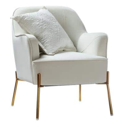 Nora Ivory Gold Legs Accent Chair