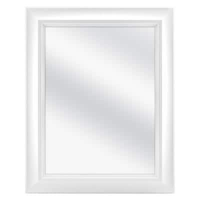 24 in. W x 30 in. H Fog Free Framed Recessed or Surface-Mount Bathroom Medicine Cabinet in White with Mirror