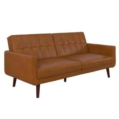 Fay Camel Faux Leather Upholstered Modern Futon