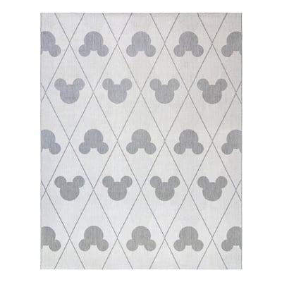 Mickey Mouse Cream/Gray 8 ft. x 10 ft. Trellis Area Rug
