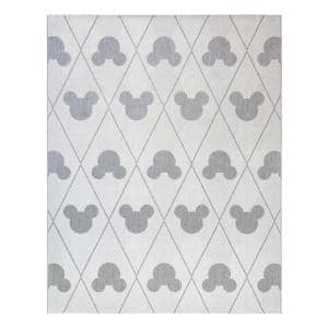 Mickey Mouse Cream/Gray 9 ft. x 13 ft. Argyle Indoor/Outdoor Area Rug