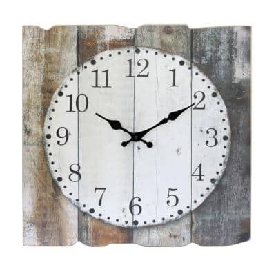 """Worn Wood Square 15"""" Rustic Farmhouse Arabic Number Battery Operated Wall Clock"""