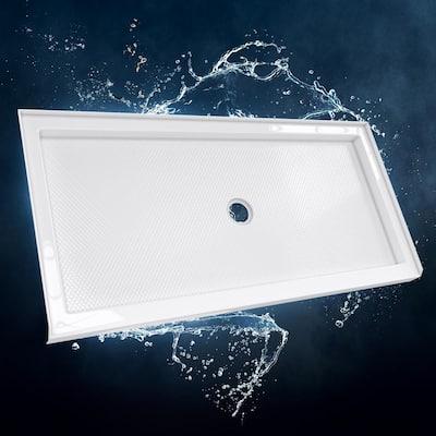 SlimLine 30 in. D x 60 in. W Single Threshold Shower Base in White