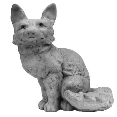 Cast Stone Fox Garden Statue Antique Gray