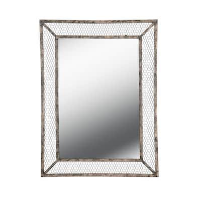 Medium Rectangle Brown Casual Mirror (40 in. H x 30 in. W)