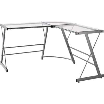 51 in. L-Shaped Gray Writing Desk with Glass Top