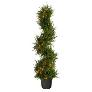 45in. Spiral Cypress Artificial Tree with 80 Clear LED Lights UV Resistant (Indoor/Outdoor)