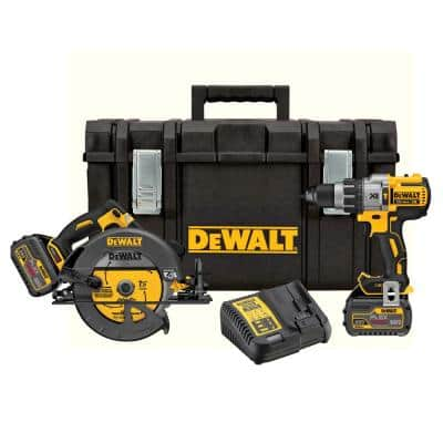 FLEXVOLT 60-Volt Lithium-Ion Combo Kit (2-Tool) with (2) Batteries 6.0 Ah, Charger and 22 in. ToughSystem Toolbox