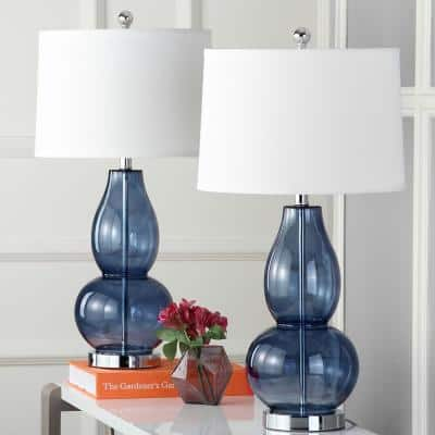 Mercurio 28.5 in. Blue Double Gourd Table Lamp with Off-White Shade (Set of 2)