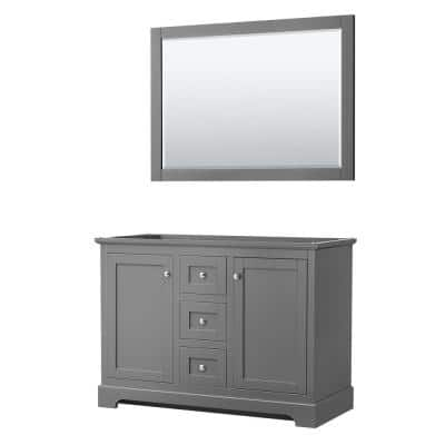 Avery 47.25 in. W x 21.75 in. D Vanity Cabinet Only with Mirror in Dark Gray