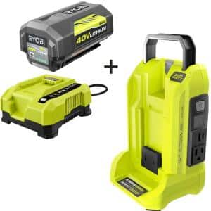 300-Watt Power Inverter for 40V Battery with 6.0 Ah Battery and Rapid Charger