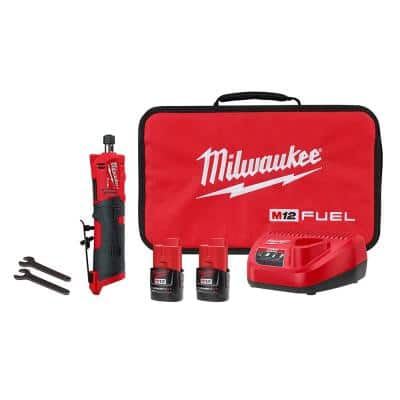 M12 FUEL 12-Volt Lithium-Ion Brushless Cordless 1/4 in. Straight Die Grinder Kit with Two 2.0 Ah Batteries