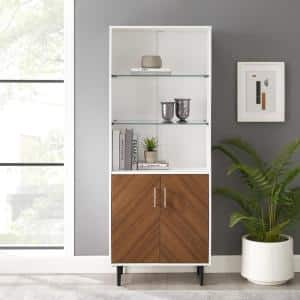 3-Shelf Solid White Bookmatch Display Cabinet