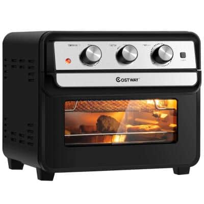 23 qt. Black Air Fryer Oven with Rotisserie