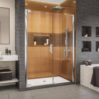 Elegance-LS 52-1/2 in. to 54-1/2 in. W x 72 in. H Frameless Pivot Shower Door in Chrome