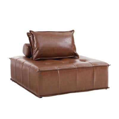 CUBE 1 Piece Cognac Faux Leather Modular Square Reversible Accent Sectionals with Pillows