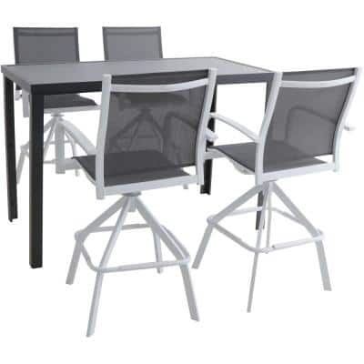 Naples 5-Piece Aluminum Outdoor Dining Set with 4 Swivel Bar Chairs and a Glass-Top Bar Table in White/Gray