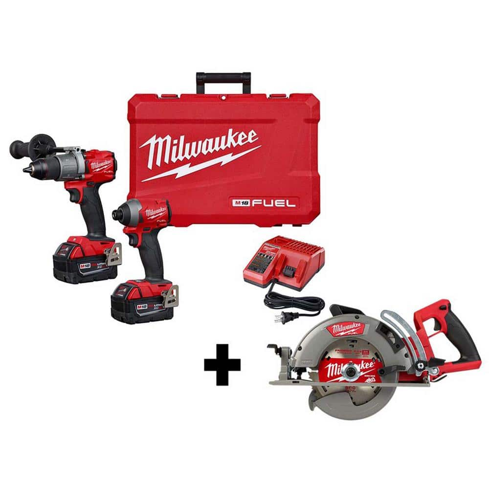 milwaukee m18 fuel 18 volt lithium ion brushless cordless hammer drill and impact driver combo kit 2 tool with circular saw 2997 22 2830 20 the