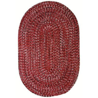 Team Spirit Red Black 20 in. x 30 in. Braided Oval Area Rug