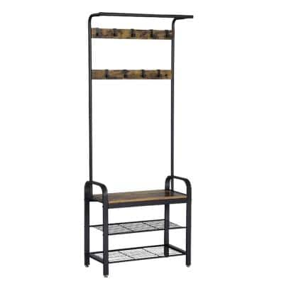 Brown and Black Metal and Wood Framed Coat Rack with Multiple Hooks and Storage Shelves