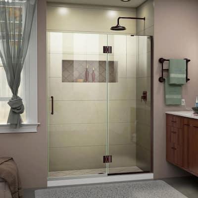 Unidoor-X 51 in. x 72 in. Frameless Hinged Shower Door in Oil Rubbed Bronze