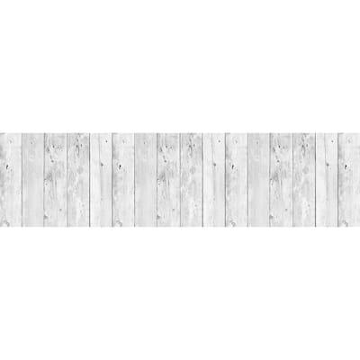 White Wood Peel and Stick Backsplash Wall Decal
