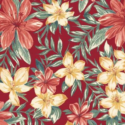 36 in. x 54 in. Ruby Clarissa Tropical Outdoor Fabric by the Yard