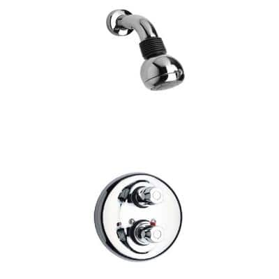 Water Harmony 2-Handle 2-Spray Shower Faucet with Thermostatic Valve and Volume Control in Chrome (Valve Included)