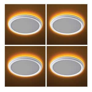 11 in. White Beveled Edge Color Changing Selectable LED Flush Mount with Night Light Feature Ceiling Light (4-Pack)