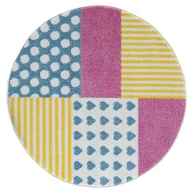 Whimsical Patchwork 5 ft. Round Indoor Area Rug