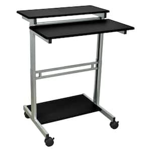 34 in. Rectangular Black/Walnut Standing Desks with Adjustable Height