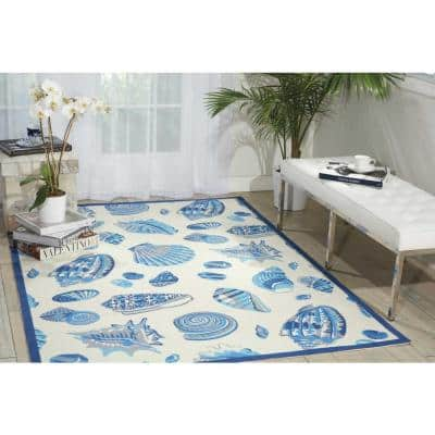 Low Tide Ivory 8 ft. x 11 ft. Abstract Glam Indoor/Outdoor Area Rug