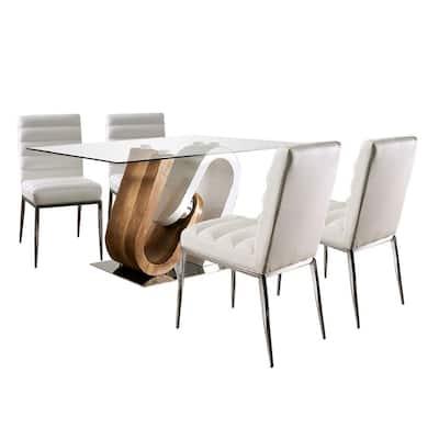 Cilegon 5-Pieces Rectangle Glass Top White Bar Table Set