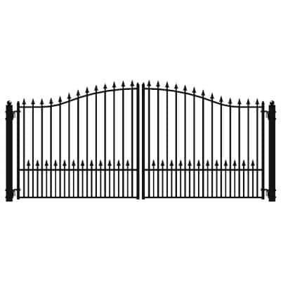 Munich Style 18 ft. x 6 ft. Black Steel Dual Driveway Fence Gate
