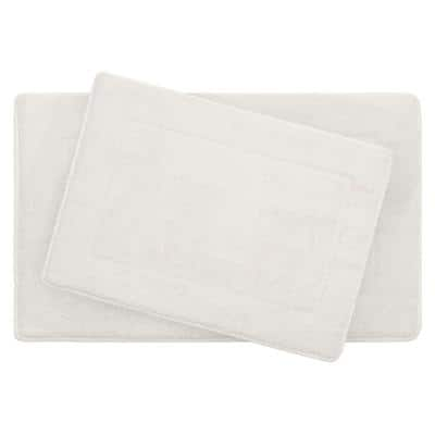 Terry White 20 in. x 32 in Microfiber Memory Foam. 2-Piece Set Bath Mat Set